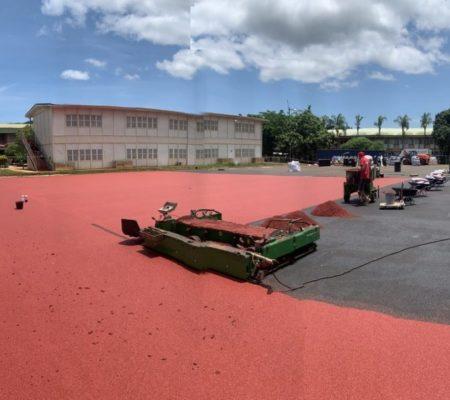 Application du revêtement synthétique EPDM - Mayotte