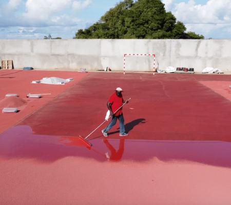 Application du topping - plateau sportif Mayotte